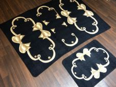 ROMANY GYPSY WASHABLES SETS OF TOURER SIZES 67X120CM MATS/RUGS BLACK/BEIGE BOWS
